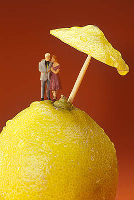 Painting - A Couple In Lemon Rain Little People On Food by Paul Ge