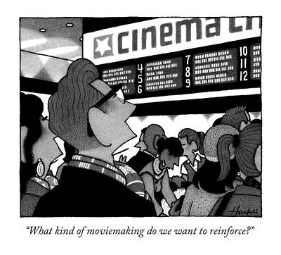 Blockbuster Drawing - A Couple Looking At The Marquee Of Movies Showing by William Haefeli