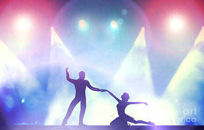 Pair Photograph - A Couple Of Dancers In Elegant Passionate Dancing Pose In Club Lights by Michal Bednarek