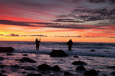 Man And Nature Photograph - A Couple Of Fishermen Catch A Good by Robbie George