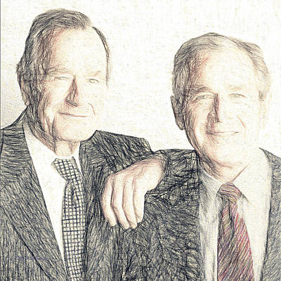 George Bush Digital Art - A Couple Of Guys From Texas #1 by Will Barger