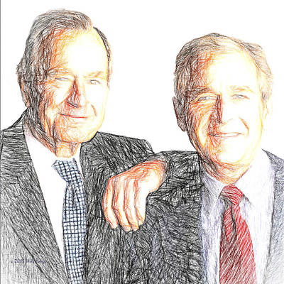 George Bush Digital Art - A Couple Of Guys From Texas #2 by Will Barger