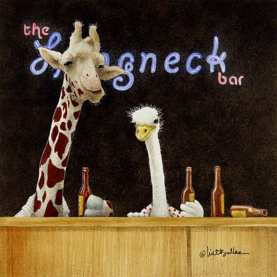 Ostrich Painting - A Couple Of Longnecks... by Will Bullas