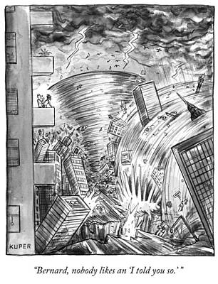 Tornado Drawing - A Couple On A Balcony by Peter Kuper