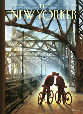Couple Painting - A Couple On Bikes Embrace Under The Fifty-ninth by Eric Drooker