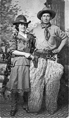 A Couple Poses In Western Gear Art Print by Underwood Archives