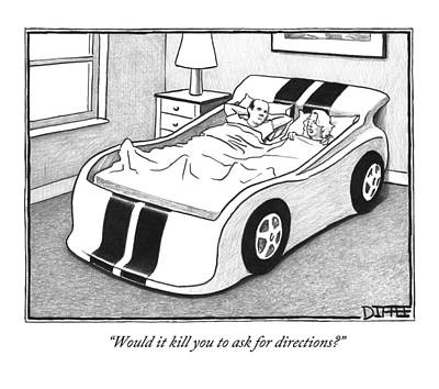 Sleeping Drawing - A Couple Sleeping In A Kids Car Bed by Matthew Diffee