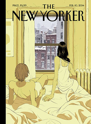 Seasons Painting - A Couple Stays In Bed While It Snows In The City by Tomer Hanuka