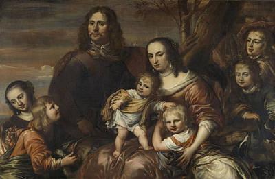 A Couple With Six Children, Jürgen Ovens Art Print by Litz Collection