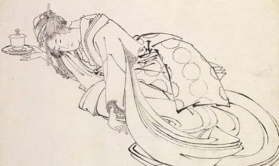 Period Drawing - A Courtesan Offering A Cup by Japanese School