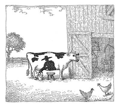Cow Drawing - A Cow Has A Spot That Looks Like A Farmer by John O'Brien