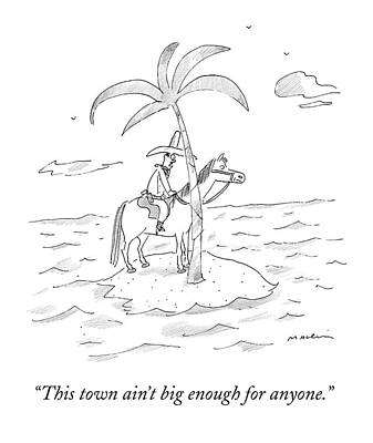 February 16th Drawing - A Cowboy Sits On A Horse On A Desert Island by Michael Maslin