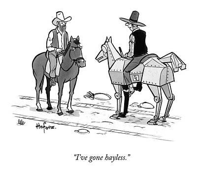 Cowboy On A Robot Horse Original
