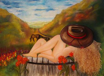 Painting - A Cowgirl Bath by Annamarie Sidella-Felts