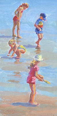 Kids Playing In Sand Painting - A Crabbing We Will Go. by Lucelle Raad