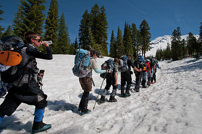 Mt Shasta Photograph - A Crew Of People Hike Through The Snow by Beth Wald