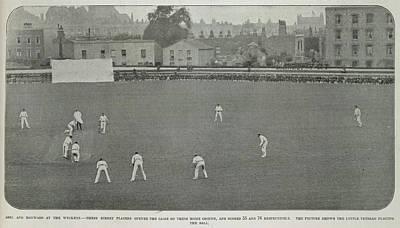 A Cricket Match In A City Art Print
