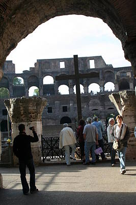 A Cross In The Coloseum Art Print by Dick Willis