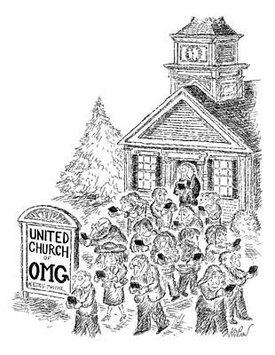 A Crowd Disperses Outside A Church Art Print