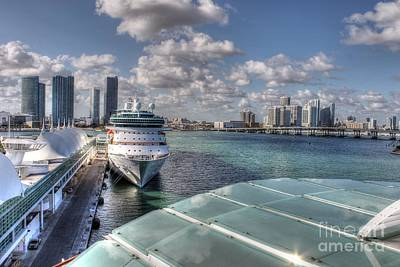 Photograph - A Cruise At Miami Port by Ines Bolasini