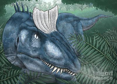 Headshot Digital Art - A Cryolophosaurus Walking by Vitor Silva