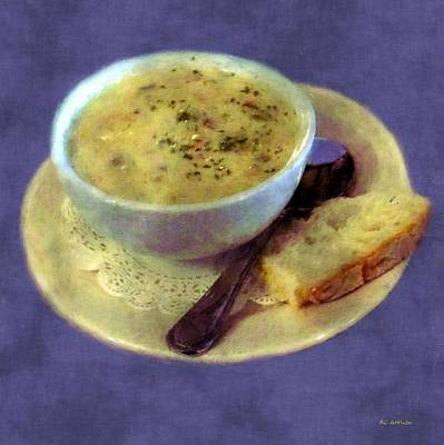 A Cup Of Chowder, A Crust Of Bread Art Print by RC deWinter