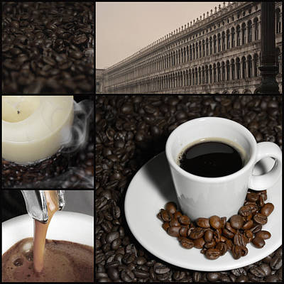 A Cup Of Coffee In Venice - St Marks Square - Elena Yakubovich Art Print by Elena Yakubovich