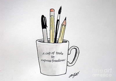 Drawing - A Cup Of Tools To Express Freedom by Christopher Shellhammer