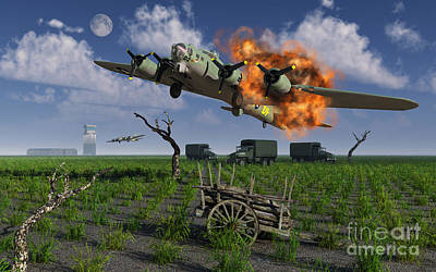 Destruction Digital Art - A Damaged B-17 Flying Fortress by Mark Stevenson