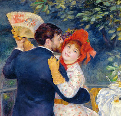 Embrace Painting - A Dance In The Country by Pierre Auguste Renoir