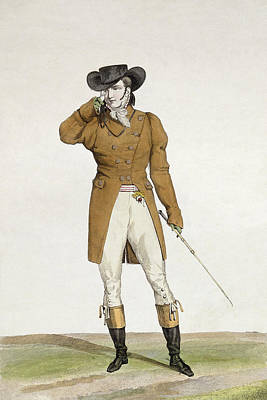 Satirical Painting - A Dandy by Antoine Charles Horace Vernet