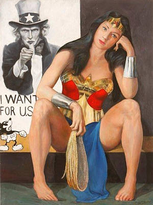 I Wonder Painting - A Date With Uncle Sam by Simkin de Pio