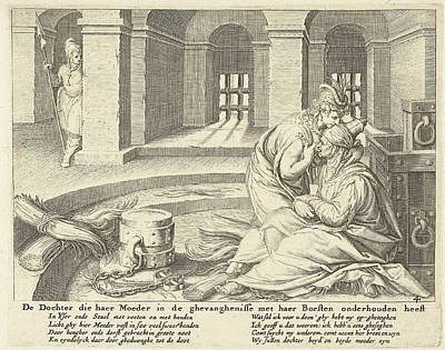 Variation Drawing - A Daughter Suckles Her Mother In Jail, Zacharias Dolendo by Jacob De Gheyn (ii) And Claes Jansz. Visscher (ii)