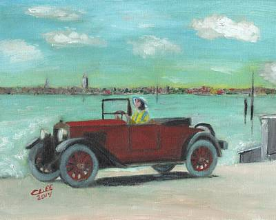 Fiat Car Painting - A Day At The Beach by Cliff Wilson