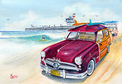 San Clemente Painting - A Day At The Beach With My 49 Ford Woody by Rob Beilby