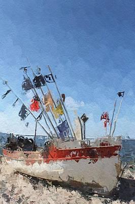 Trawler Digital Art - A Day At The Beach by Steve K