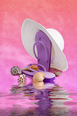 A Day At The Beach Still Life Art Print by Tom Mc Nemar