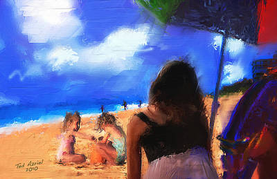 Art Print featuring the painting A Day At The Beach by Ted Azriel