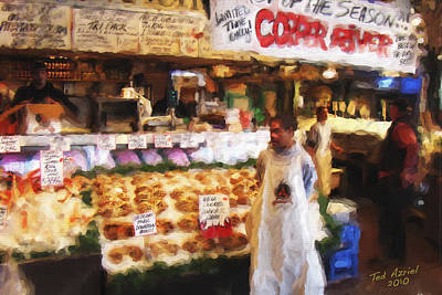 Art Print featuring the painting A Day At The Fish Market by Ted Azriel