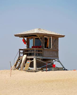 Photograph - Beach Hut - Assategue Island's Iconic Life Guard Station Sits On The Sand By The Atlantic Ocean by William Bartholomew