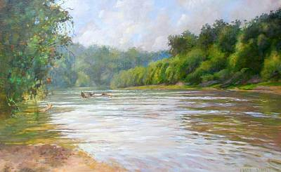 Seashore Painting - A Day At The River  by Nancy Stutes