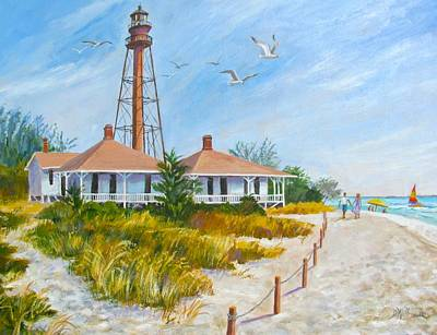 Sanibel Island Painting - A Day By Sanibel Lighthouse by Dianna  Willman