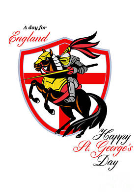 A Day For England Happy St George Day Retro Poster Art Print by Aloysius Patrimonio
