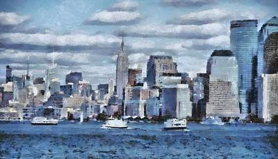 Ellis Island Painting - A Day In The Big City by Dan Sproul