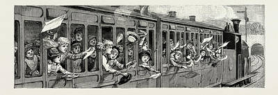 Country Schools Drawing - A Day In The Country, A Childrens School Treat In The Train by Litz Collection