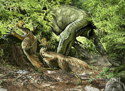 Bird On The Ground Digital Art - A Deadly Alioramus Suprises A Pair by Jan Sovak