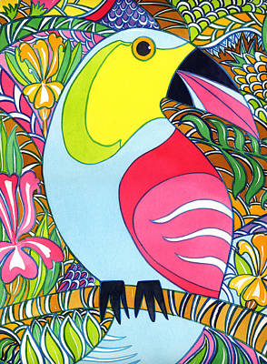 Painting - A Decorative Toucan by Kate Shannon
