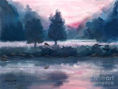 Misty Morning Painting - A Deer At Sunrise by Judy Filarecki