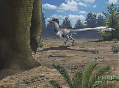 A Deinonychosaur Leaves Tracks Print by Emily Willoughby