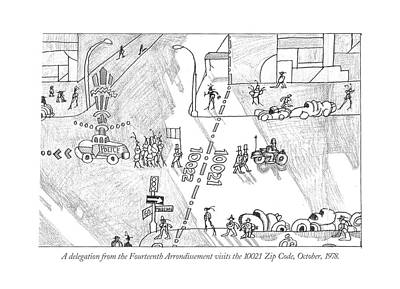 Manhattan Drawing - A Delegation From The Fourteenth Arrondissement by Saul Steinber